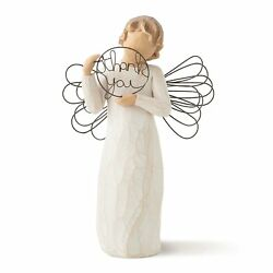Thank You Angel Figurine Just For You Girl Cherub Wire Sculpture Willow Tree New