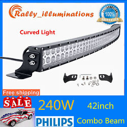 42inch 240w Curved Led Work Light Bar Spot Flood Combo Trailer Offroad 288w 300w