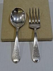 Vintage Stieff Sterling Silver Baby Fork And Spoon Set 4 1/2