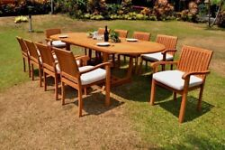 Napa A-grade Teak Wood 11pc Dining 117 Mas Oval Table 10 Stacking Arm Chair Set