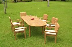 Napa A-grade Teak Wood 7pc Dining 94 Oval Table 6 Stacking Arm Chair Set New