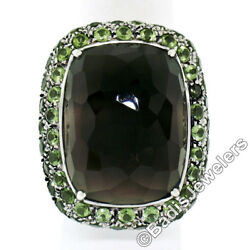 18k White Gold 37.60ctw Large Faceted Smokey Topaz Solitaire And Peridot Halo Ring