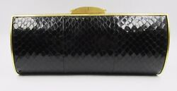 New Thale Blanc Talia Fastueux Clutch Water Snake Embossed Leather Black