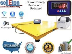60 X 60 Floor Scale / Pallet Size With Indicator And Printer 2500 Lbs X .5 Lb