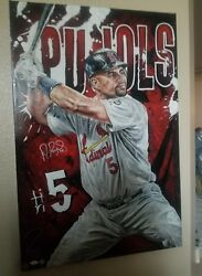 Albert Pujols Autographed The Gate Keeper Justyn Farano Painting Le 4/10