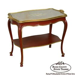 Rococo Hand Painted Partial Gilt Etagere 2 Tier Table