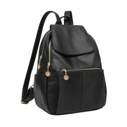 Women Girl Leather Black Backpack Satchel Rucksack Travel Shoulder School Bag