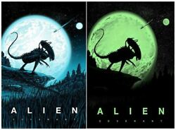 Alien Covenant Xenomorph Glow In The Dark Moon And Stars Lithograph Poster Art
