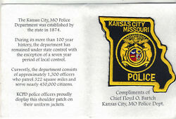 Kansas City Police Missouri Shoulder Patch On A Department History Card - 1997