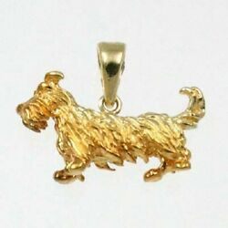 Scottish Terrier   Dog Charm Pendant 14K Solid Yellow Gold Animal Charms 25-24