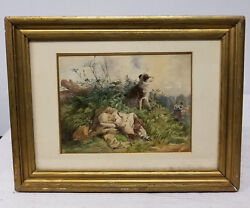 Antique European Fine Watercolor Painting Baby Dog Pasture Unsigned