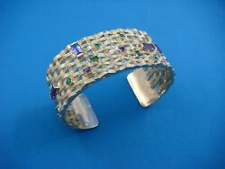 18k Yellow Gold Heavy 68.9 Grams Cuff Bracelet With Amethyst And Green Garnets