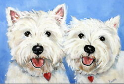 West Highland Terrier WESTIE MATTED PRINT Painting BEST BUDDIES Dog Art RANDALL