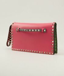 Valentino Pink Green Leather Rock Stud Flap Wristlet Clutch - NWT