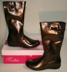 New Balleto Brown Faux Patent Leather Girls Tall Boots US 2 2.5 M Youth EU 34 $17.98