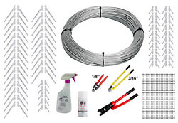 Full Surface Mount Cable Railing Kit - 1000ft Cable, 3/16 End Fittings, And Tools