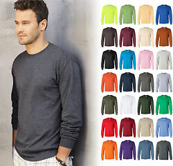 Gildan Ultra Cotton Mens Crewneck Long Sleeve T Shirt S 5XL 2400 $6.27