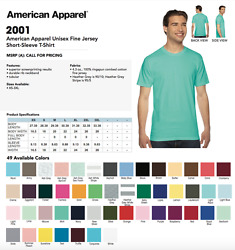 50 Blank American Apparel 2001 Fine Jersey T-shirt Lot Ok To Mix Xs-xl And Colors