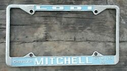 Mitchell Chrysler Plymouth Dealer License Tag Plate Lodi California 1960s 1970s