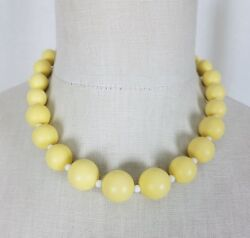 Vintage Single Strand Yellow Beads Beaded Necklace Choker Length Resin Lucite