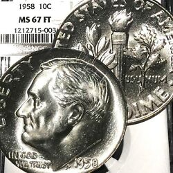 1958 P Roosevelt Dime Ngc Ms67 Ft Fb Full Torch Band - Bright Super Rare T111