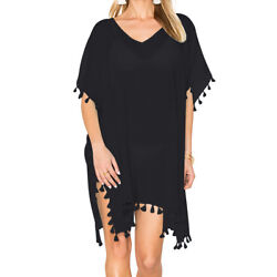 Women#x27;s Chiffon Tassel Swimsuit Bikini Beach Wear Bathing Suit Cover up Dress $12.99