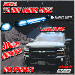 3pc 30 White Led Smoked Lens Roof Top Full Running Parking Cab Lights Truck Suv