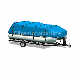 Premium Canvas Pontoon Trailerable Boat Cover Blue Fits 21and039- 24and039 Weatherproof