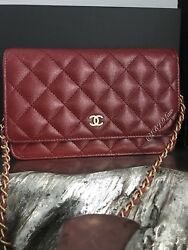 NWT CHANEL 18C IRIDESCENT RED BURGUNDY WOC MINI CLUTCH BAG WALLET ON CHAIN 2018