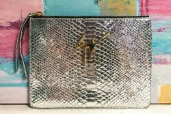 GIUSEPPE ZANOTTI Silver Metallic Snakeskin Mirrored Margery Clutch Evening Bag