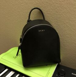 DKNY small black leather bryant backpack NWT