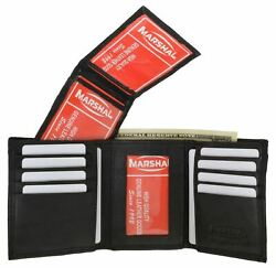 New Mens Trifold Soft Leather Wallet Multi Pockets Card 3 ID Windows Zipper Gift
