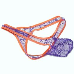 K8039 Mens Thong Grape Smugglers Contoured Pouch Lace Spiderweb Spider Net