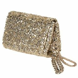 Gold Evening Bag SequinGold Clutch Purse With Flap and 2 Chains for Party