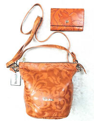Valentina Floral Leather Crossbody Made in Italy with Matching Wallet