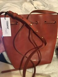 Mansur Gavriel Brandy with Brick lining Tanned Leather Large Bucket Bag