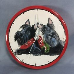 Valentine gift Scottie scottish terrier ceramic clock sculpture by artist OOAK