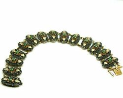 Vintage Bracelet In Antique Style Italian Gold Solid 18 Carats With Emeralds