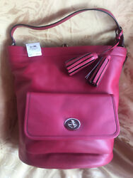 NWT Coach Legacy Leather Red  Black Cherry Bucket Duffle Bag 21193 MSRP $398