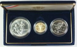1994-w Gold 5 And D Silver 1 And 50 Cents World Cup 3 Coin Bu Comem Set In Ogp Jah