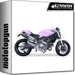Spark 2 Exhausts Round Kat Carbon High Ducati Monster 1100 2009 09 2010 10