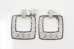 Italian Made Palmiero Black + White Diamond Earrings w Floral 18k White Gold