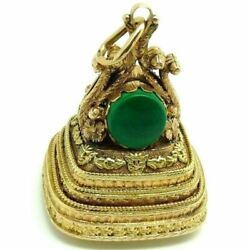 Pendant Gold Solid 18 Carats Vintage Italian Yearsand039 60 Big With Malachite