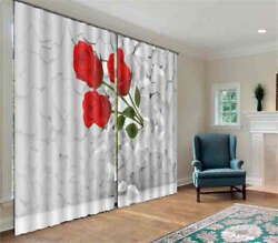 Roses Out Of The Wall 3d Curtain Blockout Photo Printing Curtains Drape Fabric