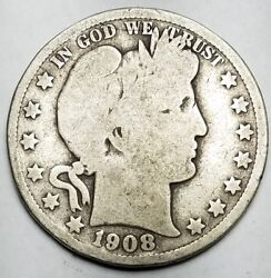 1908-o Barber 50c-good+ Condition-km 116 90 Silver-free Usa Ship-new Orleans