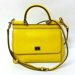 Dolce & Gabbana Yellow Calf Leather Small 'Sicily' Tote Satchel Women Bags
