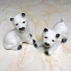 Vintage Bisque Porcelain West Highland Terrier Figurine Set