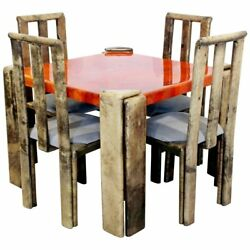 Mid Century Modern Lacquered Goatskin Dinette Game Table Chairs Enrique Garcel