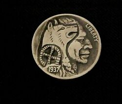 Date 1937 BROTHERS WE STAND TOGETHER Carved OOAK Original folk art Hobo Nickel