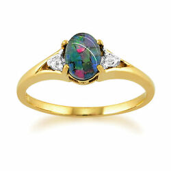 9ct Yellow Gold 0.62ct Triplet Opal And Diamond Ring Size